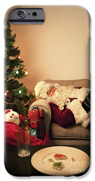 Christmas Eve iPhone Cases - Santa Takes a Nap iPhone Case by Diane Diederich
