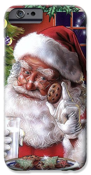 Airbrush iPhone Cases - Santa iPhone Case by Tim  Scoggins