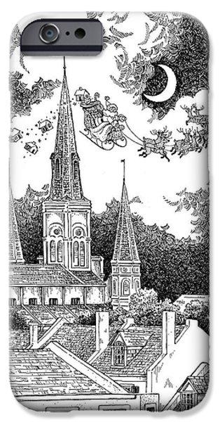 Santa Drawings iPhone Cases - Santa Visits New Orleans iPhone Case by Joyce Hensley