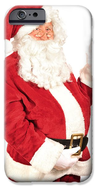 Father Christmas iPhone Cases - Santa Waving iPhone Case by Amanda And Christopher Elwell