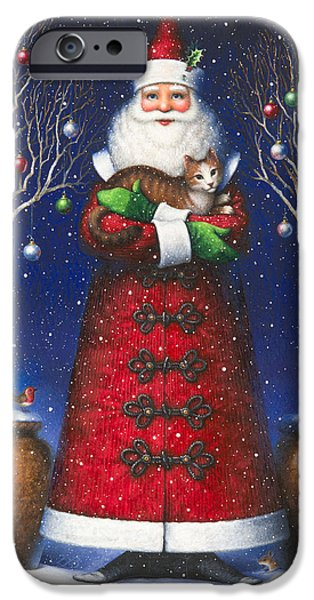 Santa Paintings iPhone Cases - Santas Cat iPhone Case by Lynn Bywaters