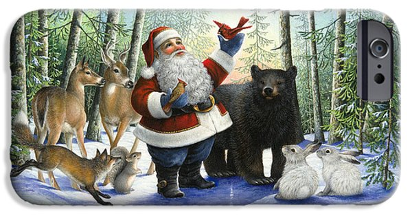 Animal Cards iPhone Cases - Santas Christmas Morning iPhone Case by Lynn Bywaters