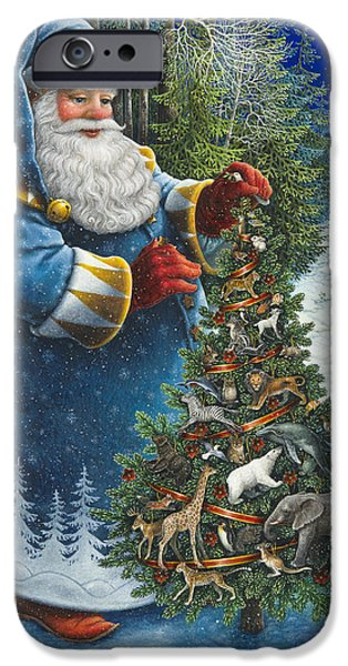 Santa Paintings iPhone Cases - Santas Christmas Tree iPhone Case by Lynn Bywaters