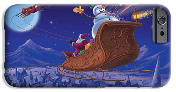 Michael Paintings iPhone Cases - Santas Helper iPhone Case by Michael Humphries
