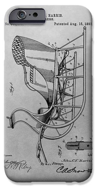 Santa Drawings iPhone Cases - Santas Sleigh Patent Drawing iPhone Case by Dan Sproul