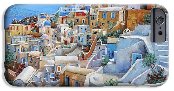 Sea iPhone Cases - Santorini A Colori iPhone Case by Guido Borelli