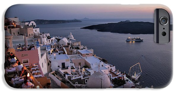 Civilization iPhone Cases - Santorini at Dusk iPhone Case by David Smith