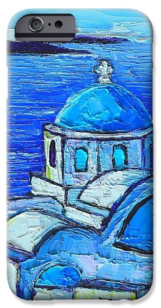 SANTORINI  BLUE iPhone Case by ANA MARIA EDULESCU