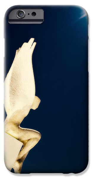 Angel Blues iPhone Cases - Santorini Guardian iPhone Case by Meirion Matthias