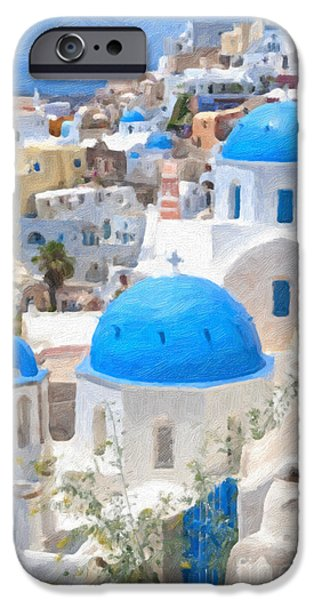 Christian Artwork Digital Art iPhone Cases - Santorini Oil Painting iPhone Case by Antony McAulay