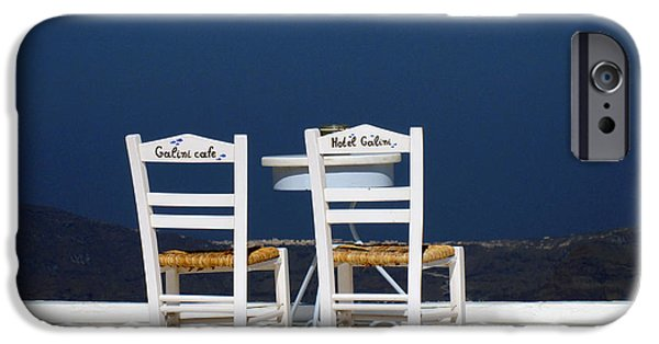 Table Wine iPhone Cases - Santorini Sea View iPhone Case by Alexandros Daskalakis