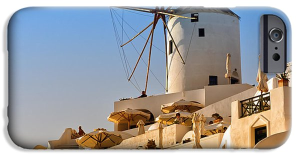 Old Mill Scenes iPhone Cases - Santorini Windmill 05 iPhone Case by Antony McAulay