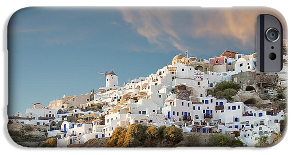 Old Mill Scenes iPhone Cases - Santorini Windmill at dusk iPhone Case by Antony McAulay