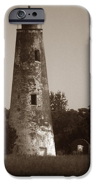 SAPELO ISLAND LIGHTHOUSE iPhone Case by Skip Willits