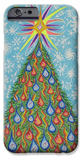 Christmas Pastels iPhone Cases - Sapin Noel iPhone Case by Robert  SORENSEN