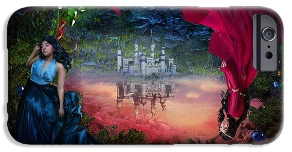 Phantasie Digital Art iPhone Cases - Sapphire iPhone Case by Cassiopeia Art