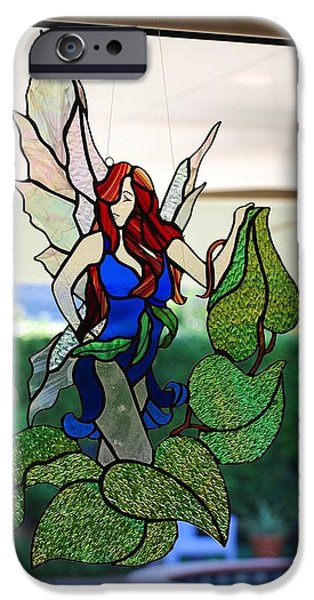Angel Glass Art iPhone Cases - Sapphire  iPhone Case by Nora Solomon