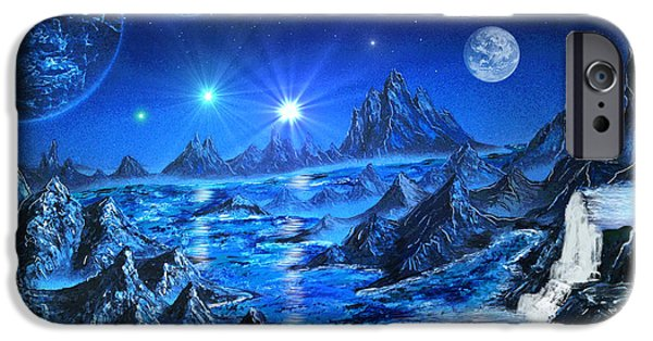 Outer Space Paintings iPhone Cases - Sapphire Planet iPhone Case by Michael Rucker