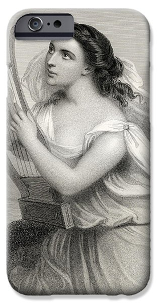 Classical iPhone Cases - Sappho,illustration From World Noted Women By Mary Cowden Clarke, 1858 Engraving iPhone Case by Pierre Gustave Eugene Staal