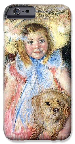 Young Paintings iPhone Cases - Sara and her Dog iPhone Case by Mary Stevenson Cassatt