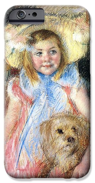 Puppy Digital iPhone Cases - Sara Holding Her Dog iPhone Case by Marry Cassatt