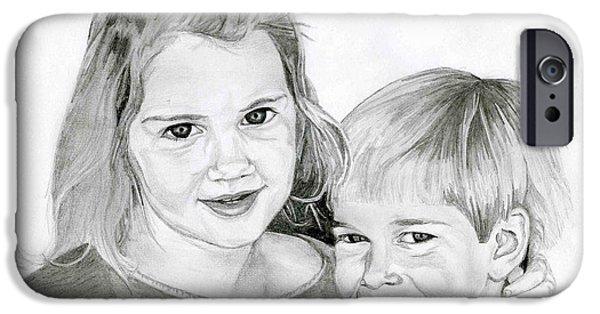 Sisters Drawings iPhone Cases - Sarah and Matt iPhone Case by Tamir Barkan