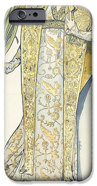 Robe Drawings iPhone Cases - Sarah Bernhardt iPhone Case by Alphonse Marie Mucha