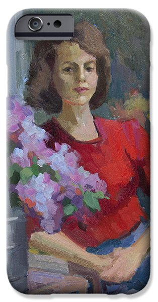 Young Paintings iPhone Cases - Sarah iPhone Case by Diane McClary
