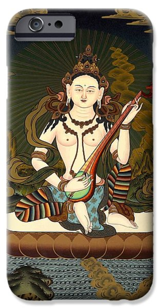 Tibetan Buddhism iPhone Cases - Saraswati 11 iPhone Case by Lanjee Chee