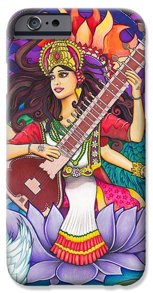 Hindu Goddess Mixed Media iPhone Cases - Saraswati iPhone Case by Julie Oakes