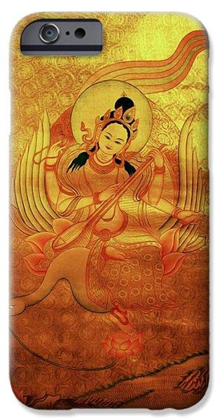 Tibetan Buddhism iPhone Cases - Saraswati Playing A Veena iPhone Case by Lanjee Chee