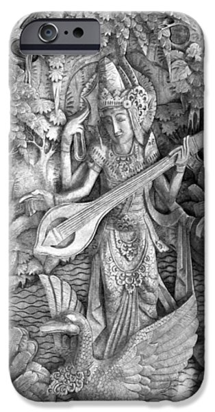 Saraswati - Supreme Goddess iPhone Case by Karon Melillo DeVega