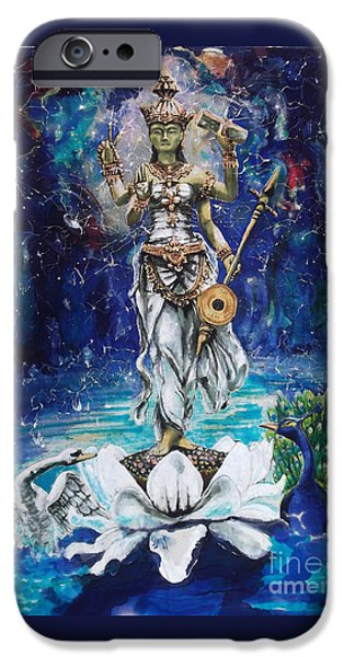 Hindu Goddess iPhone Cases - Saraswati iPhone Case by Ti Campbell-Allen