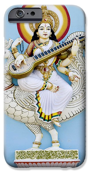 Hindu Goddess iPhone Cases - Saraswati iPhone Case by Tim Gainey