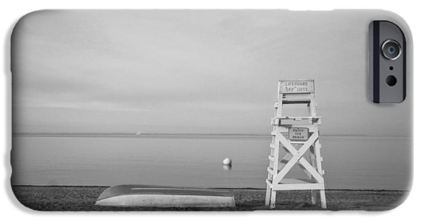 Monotone iPhone Cases - Sasco Life Guard Chair iPhone Case by Stephanie McDowell