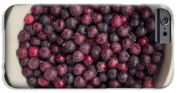 Pears iPhone Cases - Saskatoon Berries iPhone Case by Priska Wettstein