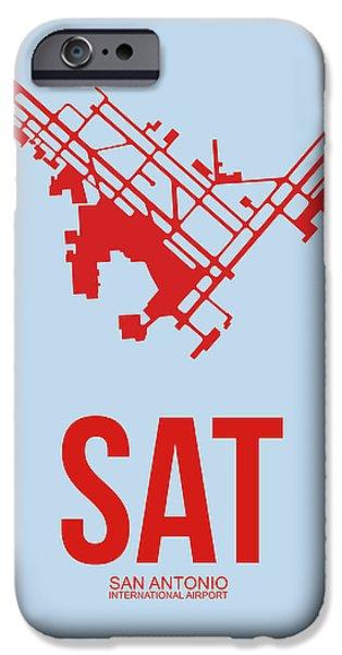 Town iPhone Cases - SAT San Antonio Airport Poster 1 iPhone Case by Naxart Studio