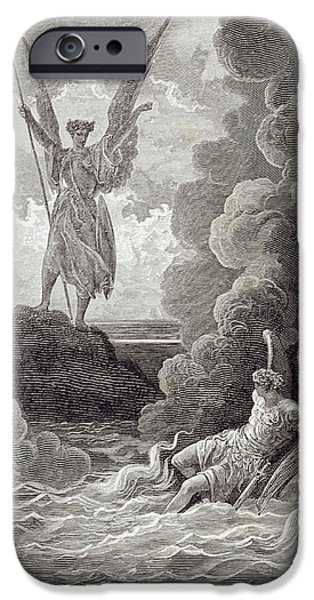 Storm Drawings iPhone Cases - Satan and Beelzebub iPhone Case by Gustave Dore
