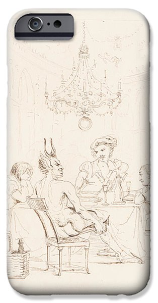Lucifer iPhone Cases - Satan and Three Men at a Table iPhone Case by Auguste Hervieu