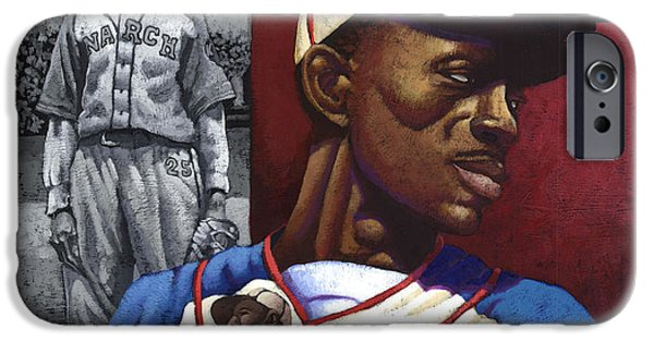 Negro Paintings iPhone Cases - Satchel Paige iPhone Case by Keith Shepherd