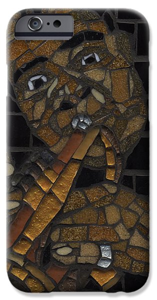 Music Glass Art iPhone Cases - Satchmo iPhone Case by Gila Rayberg