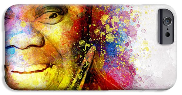 Smiling Mixed Media iPhone Cases - Satchmo Louis Armstrong iPhone Case by Shanina Conway