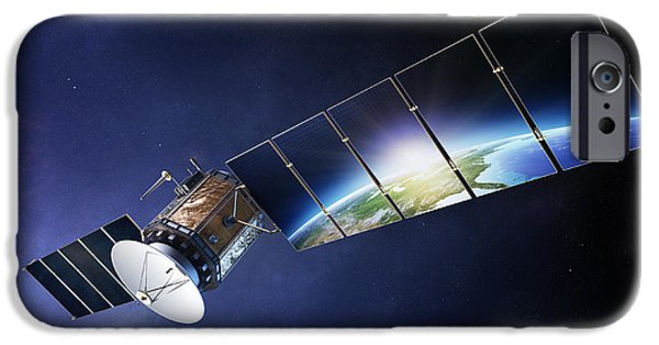 World System iPhone Cases - Satellite communications with earth iPhone Case by Johan Swanepoel