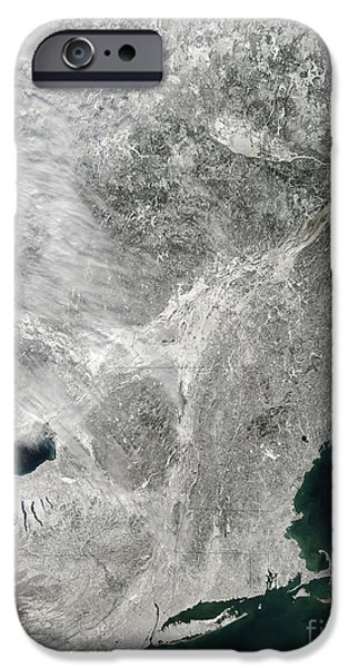 Storm Clouds Cape Cod iPhone Cases - Satellite View Of A Large Noreaster iPhone Case by Stocktrek Images