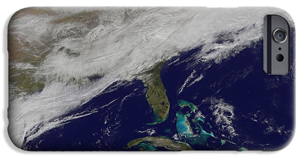 Winter In Maine iPhone Cases - Satellite View Of A Major Winter Storm iPhone Case by Stocktrek Images
