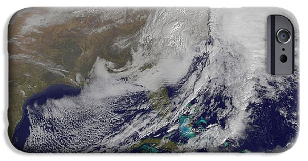 Winter Storm iPhone Cases - Satellite View Of A Powerful Winter iPhone Case by Stocktrek Images