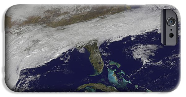 Winter Storm iPhone Cases - Satellite View Of Storm Clouds iPhone Case by Stocktrek Images