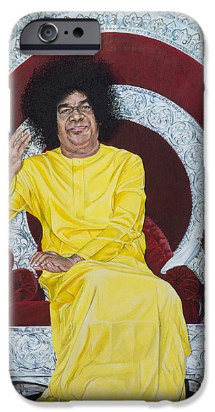 Tim Paintings iPhone Cases - Sathya Sai Baba  iPhone Case by Tim Gainey