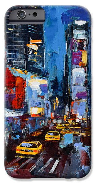 Times Square iPhone Cases - Saturday Night in Times Square iPhone Case by Elise Palmigiani