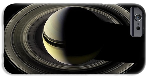 Constellations iPhone Cases - Saturn and Rings from the Top Astronomy iPhone Case by The Realm  Endless